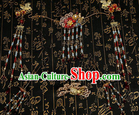 Chinese Ancient Traditional Hanfu Hairpins Tassel Hair Clips Handmade Classical Hair Accessories for Women