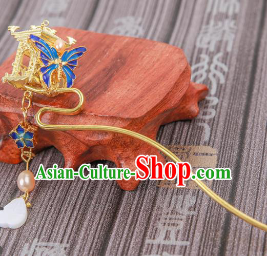 Chinese Ancient Traditional Hanfu Blueing Butterfly Tassel Hairpins Handmade Classical Hair Accessories for Women