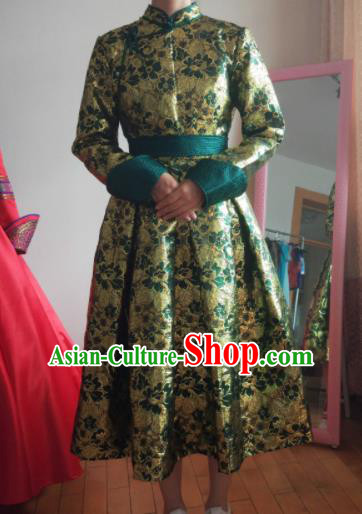 Traditional Chinese Mongol Nationality Costumes Mongols Female Folk Dance Ethnic Green Dress for Women