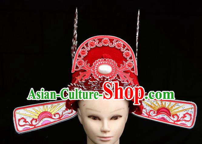 Traditional Chinese Beijing Opera Bridegroom Hair Accessories Peking Opera Niche Red Hat for Men