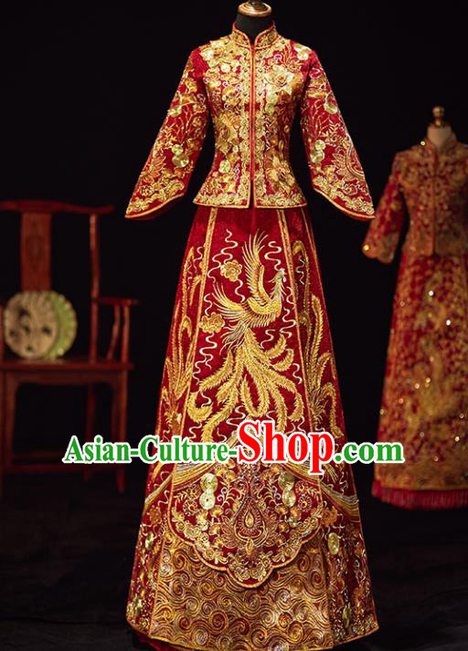 Chinese Traditional Wedding Costumes Ancient Bride Embroidered Phoenix Xiuhe Suits Red Full Dress for Women