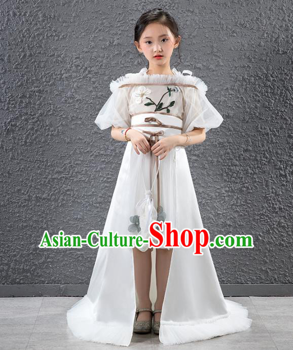 Children Stage Performance Catwalks Costume Compere Princess White Trailing Full Dress for Girls Kids