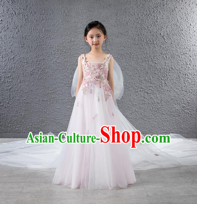 Children Stage Performance Catwalks Costume Compere Princess Pink Veil Trailing Full Dress for Girls Kids