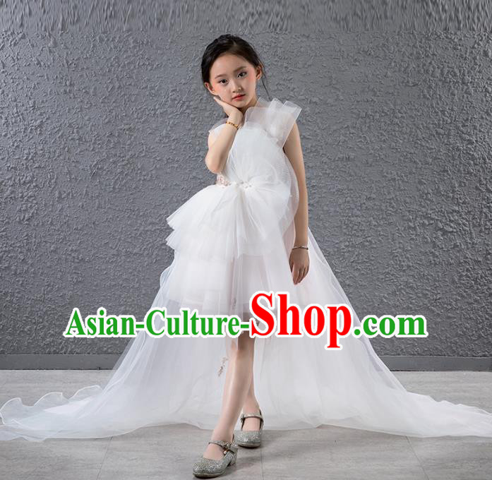Children Stage Performance Catwalks Costume Compere Princess White Veil Trailing Full Dress for Girls Kids