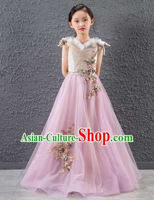 Children Stage Performance Catwalks Costume Compere Princess Full Dress for Girls Kids