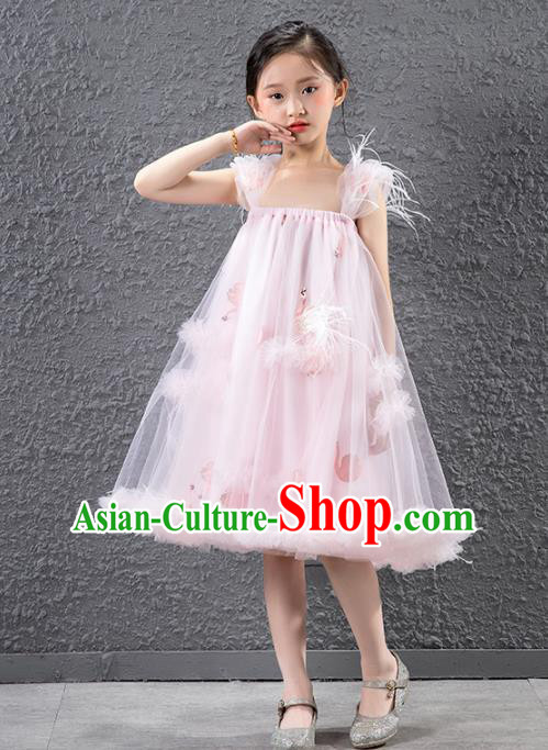 Children Stage Performance Catwalks Costume Compere Feather Full Dress for Girls Kids