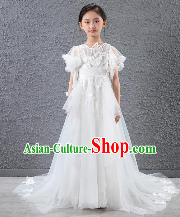 Children Catwalks Stage Performance Costume Compere Flowers Fairy Trailing Full Dress for Girls Kids