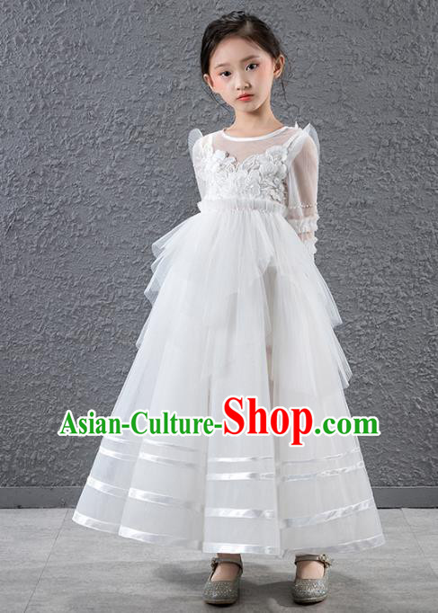 Children Catwalks Stage Performance Costume Compere Flowers Fairy White Veil Full Dress for Girls Kids