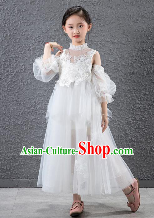 Children Catwalks Flowers Fairy Stage Performance Costume Compere White Veil Full Dress for Girls Kids