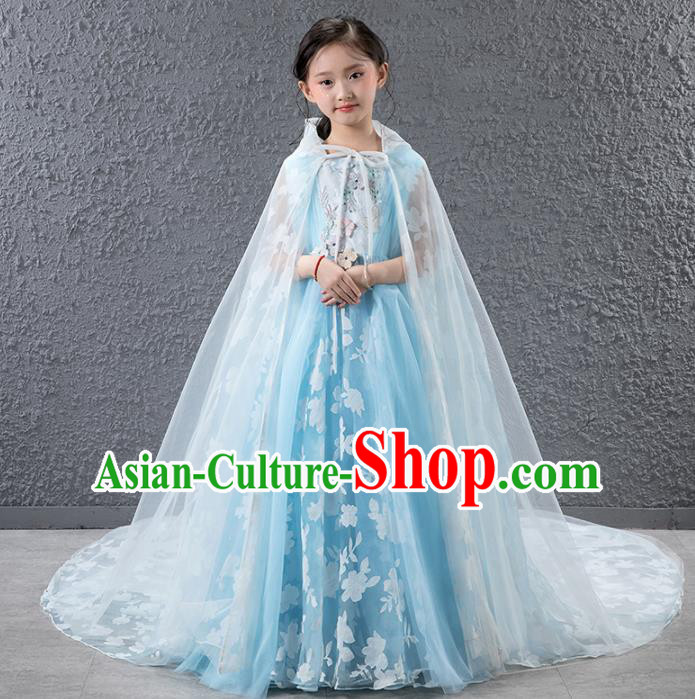 Children Catwalks Princess Costume Compere Stage Performance Blue Trailing Full Dress for Girls Kids