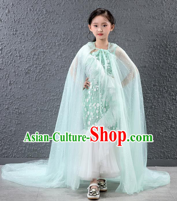 Children Catwalks Princess Costume Compere Stage Performance Green Trailing Full Dress for Girls Kids