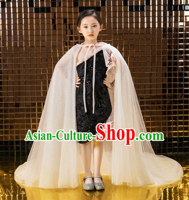 Children Catwalks Princess Costume Stage Performance Compere Full Dress for Girls Kids