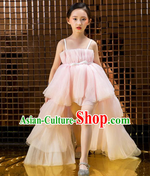 Children Catwalks Costume Stage Performance Compere Modern Dance Pink Veil Trailing Full Dress for Girls Kids