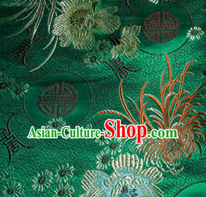 Asian Chinese Tang Suit Material Traditional Chrysanthemum Peony Pattern Design Deep Green Satin Brocade Silk Fabric