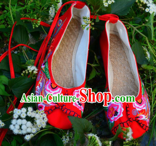 Chinese Traditional Embroidered Shoes Handmade Red Hanfu Shoes Ancient Princess Shoes for Women