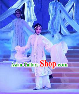 Chinese Traditional Classical Dance Group Dance Costumes Beijing Opera Stage Performance White Dress for Women