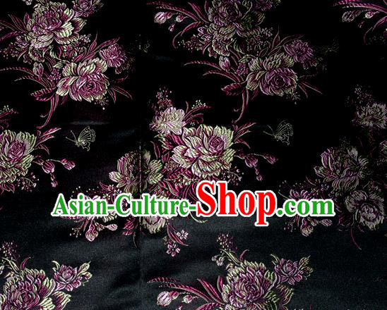 Asian Traditional Peony Flowers Pattern Design Black Satin Material Chinese Tang Suit Brocade Silk Fabric