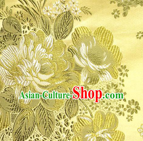 Asian Traditional Peony Pattern Design Yellow Satin Material Chinese Tang Suit Brocade Silk Fabric