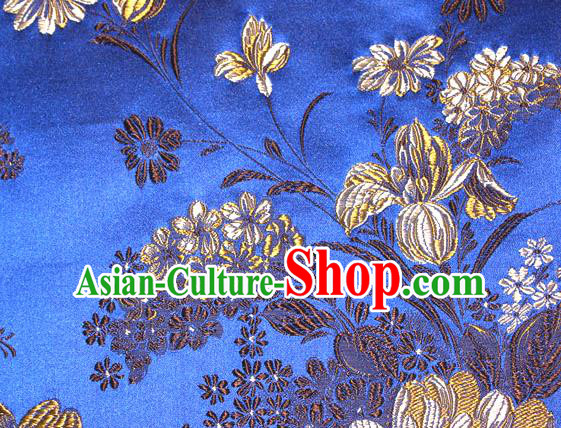 Asian Traditional Peony Pattern Design Royalblue Satin Material Chinese Tang Suit Brocade Silk Fabric