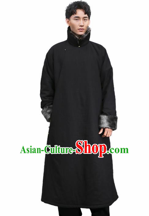 Chinese Traditional Tang Suit Costumes National Cotton Padded Long Gown Overcoat for Men