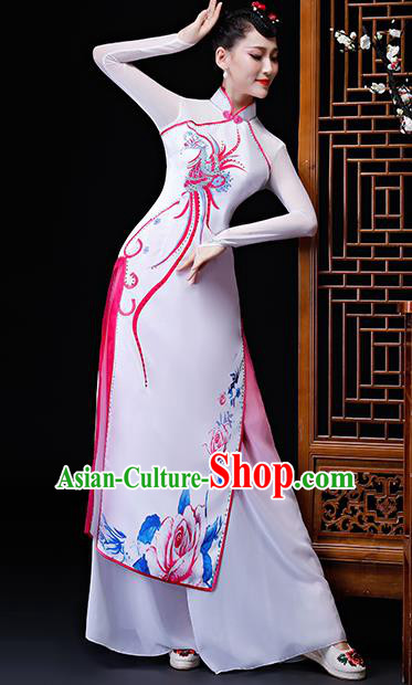 Chinese Traditional Classical Dance Costumes Umbrella Dance Group Dance White Dress for Women