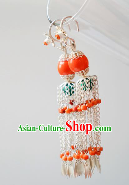 Traditional Chinese Zang Nationality Tassel Earrings Ethnic Tibetan Ear Accessories for Women