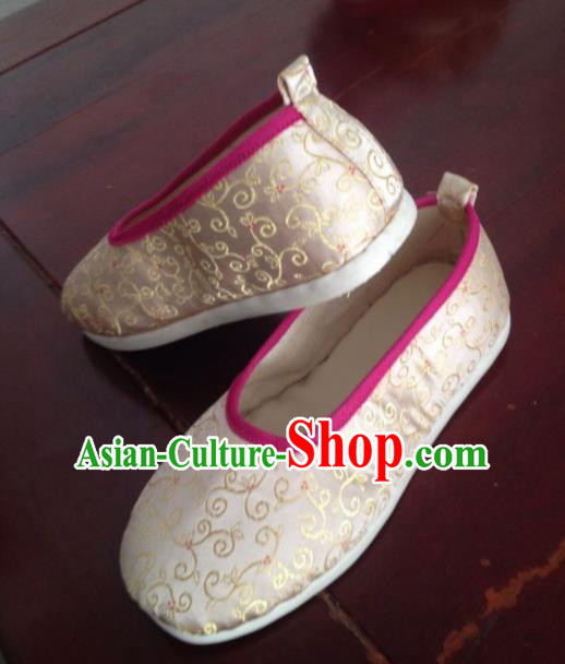 Traditional Chinese Beige Shoes Ancient Princess Shoes Wedding Embroidered Shoes for Women