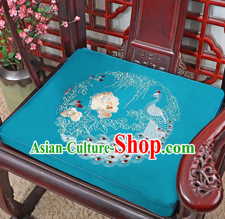 Chinese Classical Household Ornament Traditional Handmade Embroidered Peony Cushion Armchair Mat