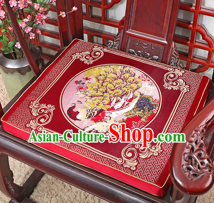 Chinese Classical Household Ornament Traditional Handmade Embroidered Red Cushion Armchair Mat