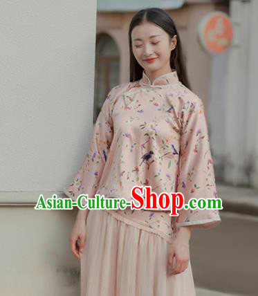 Chinese Traditional Costumes National Tang Suit Qipao Blouse Silk Shirt for Women