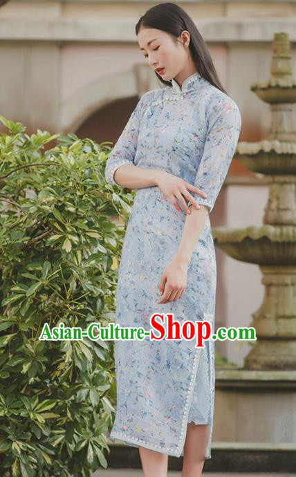 Chinese Traditional Costumes National Qipao Dress Blue Cheongsam for Women
