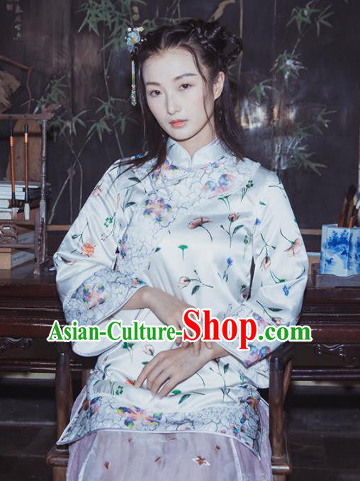 Chinese Traditional Costumes National Qipao Blouse White Silk Tang Suit Shirt for Women