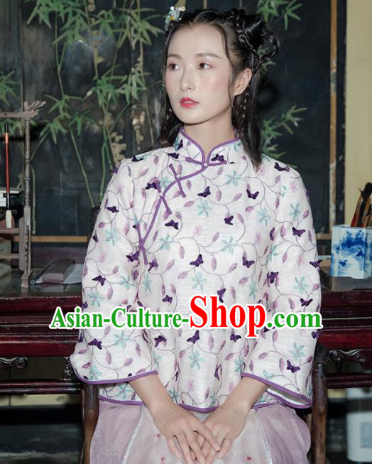 Chinese Traditional Costumes National Tang Suit Blouse Embroidered Silk Qipao Shirt for Women