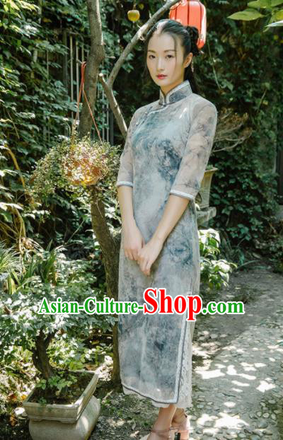 Chinese Traditional Costumes National Silk Qipao Dress Classical Cheongsam for Women
