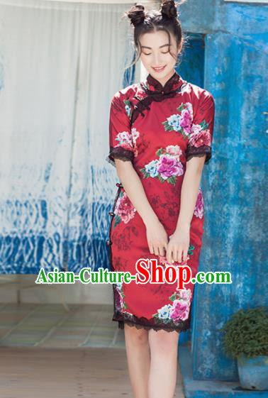 Chinese Traditional Costumes National Qipao Dress Classical Red Silk Cheongsam for Women