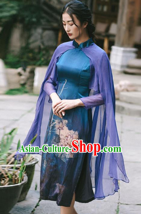 Chinese Traditional Costumes National Navy Qipao Dress Tang Suit Cheongsam for Women