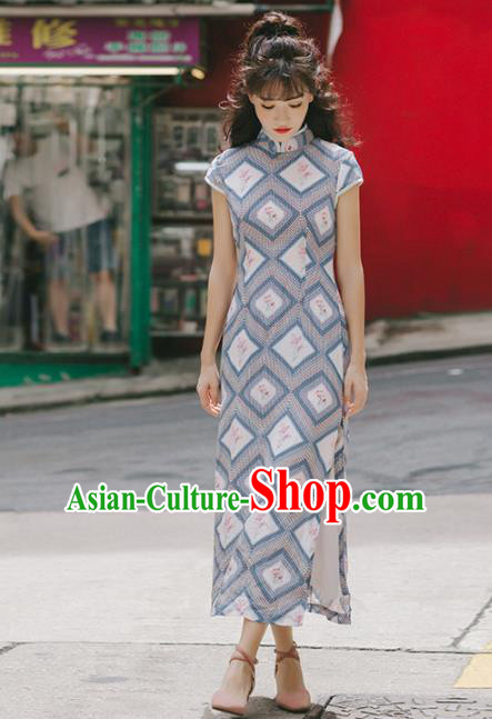 Chinese Traditional Costumes National Grey Qipao Dress Tang Suit Cheongsam for Women