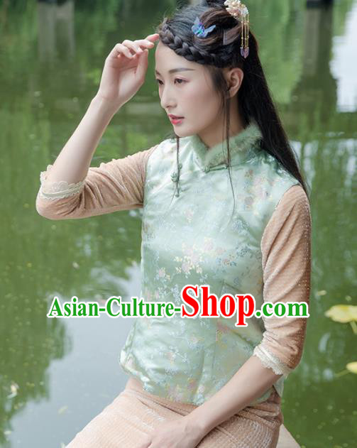 Chinese Traditional Costumes National Tang Suit Green Silk Qipao Vests for Women