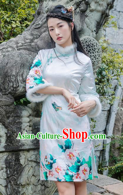 Chinese Traditional Costumes National Qipao Dress Mink Wool Silk Cheongsam for Women