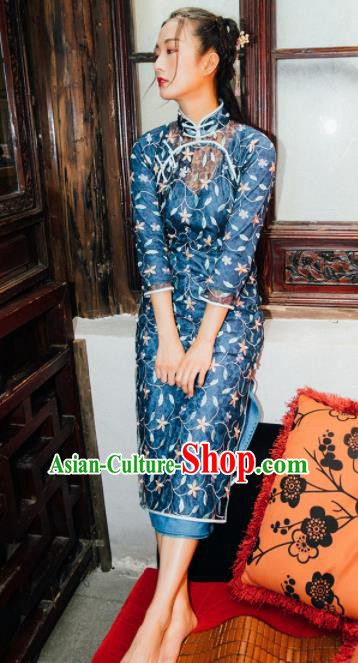 Chinese Traditional Costumes National Navy Qipao Dress Cheongsam for Women