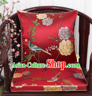 Chinese Classical Household Ornament Flowers and Birds Pattern Red Brocade Back Cushion Cover and Armchair Mat