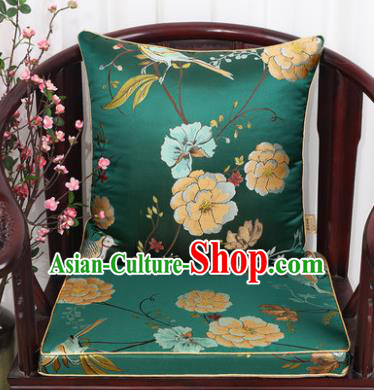 Chinese Classical Household Ornament Flowers and Birds Pattern Green Brocade Back Cushion Cover and Armchair Mat