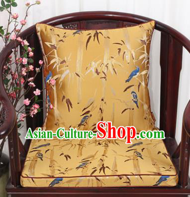 Chinese Classical Household Ornament Bamboo Pattern Golden Brocade Back Cushion Cover and Armchair Mat