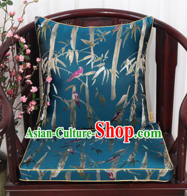 Chinese Classical Household Ornament Bamboo Pattern Blue Brocade Back Cushion Cover and Armchair Mat