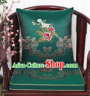 Chinese Classical Household Ornament Plum Blossom Peony Pattern Green Brocade Back Cushion Cover and Armchair Mat