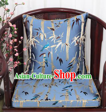 Chinese Classical Household Ornament Bamboo Pattern Light Blue Brocade Back Cushion Cover and Armchair Mat
