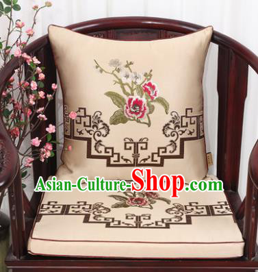 Chinese Classical Household Ornament Plum Blossom Peony Pattern Khaki Brocade Back Cushion Cover and Armchair Mat