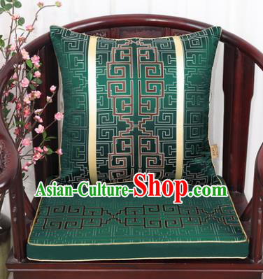 Chinese Classical Household Ornament Lucky Pattern Deep Green Brocade Back Cushion Cover and Armchair Mat