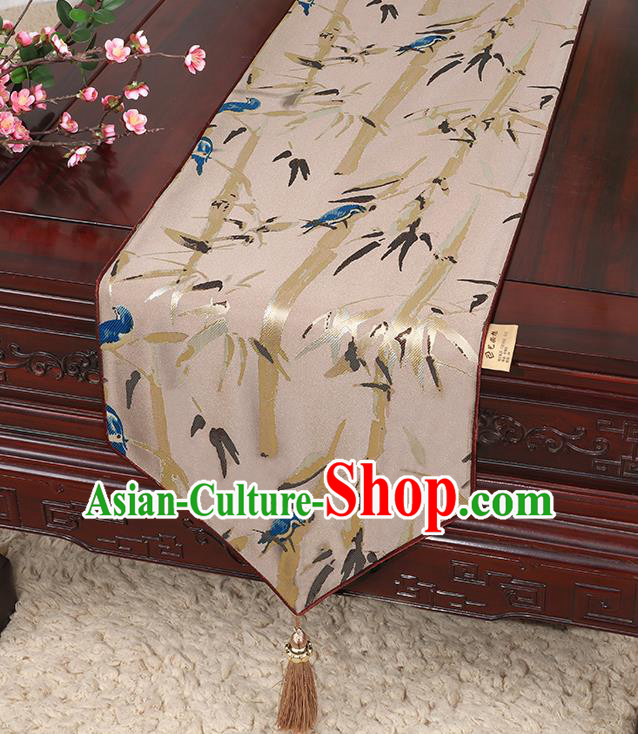 Chinese Classical Household Ornament Khaki Brocade Table Flag Traditional Handmade Bamboo Pattern Table Cloth