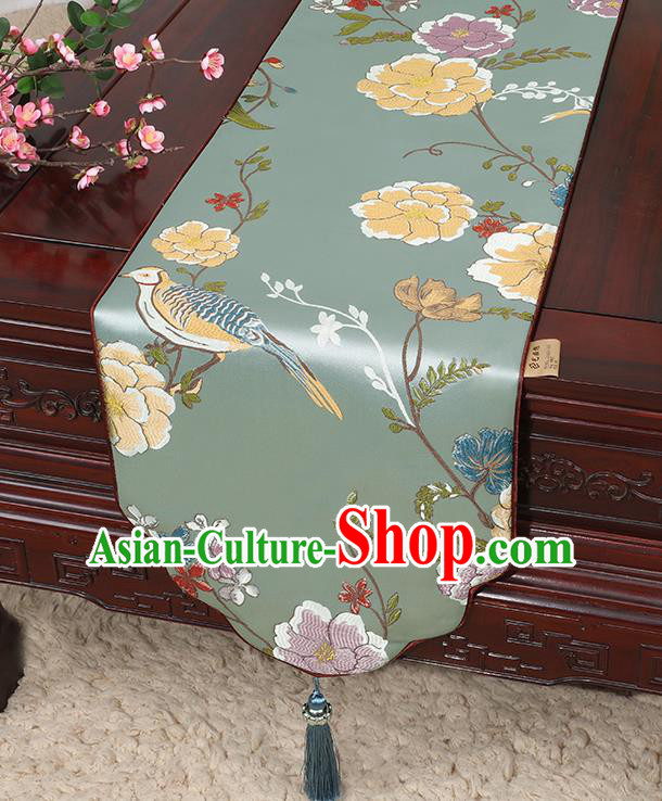 Chinese Classical Household Ornament Flowers and Bird Pattern Green Brocade Table Flag Traditional Handmade Table Cloth